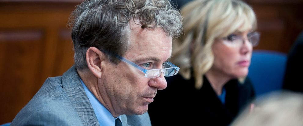 PHOTO: U.S. Sen. Rand Paul, left, R-Ky., and wife Kelley Paul listen to questions Monday, Jan. 28, 2019, during jury selection in a civil trial in Warren Circuit Court in Bowling Green, Ky.