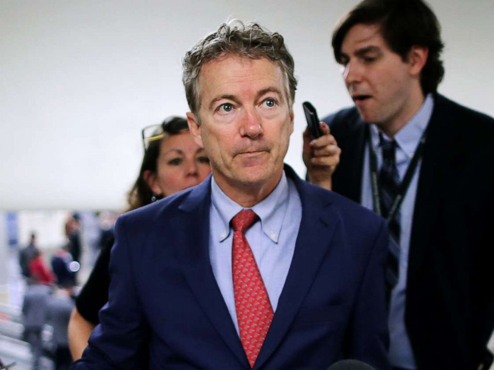 PHOTO:Sen. Rand Paul talks to reporters as he heads to the U.S. Capitol for the weekly Republican policy luncheonin Washington, D.C., March 05, 2019.