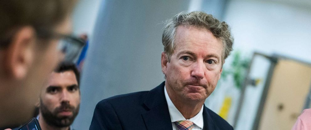 PHOTO: Sen. Rand Paul talks with reporters before the Senate Policy luncheons in the Capitol, July 9, 2019, in Washington, D.C.