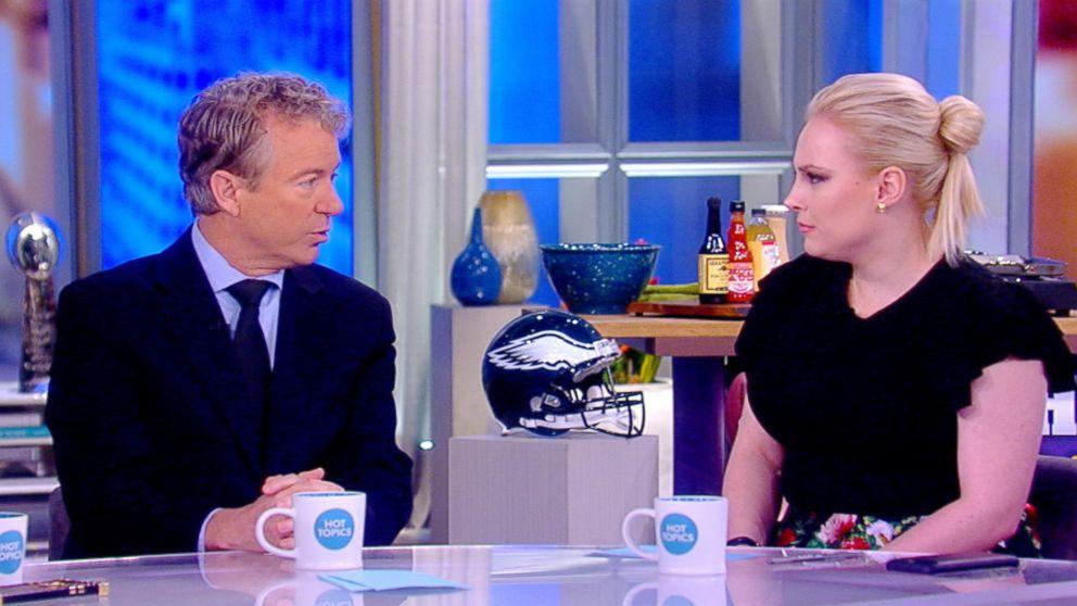 "Sen. Rand Paul speaks with ""The View"" co-host Meghan McCain, Feb. 2, 2018."