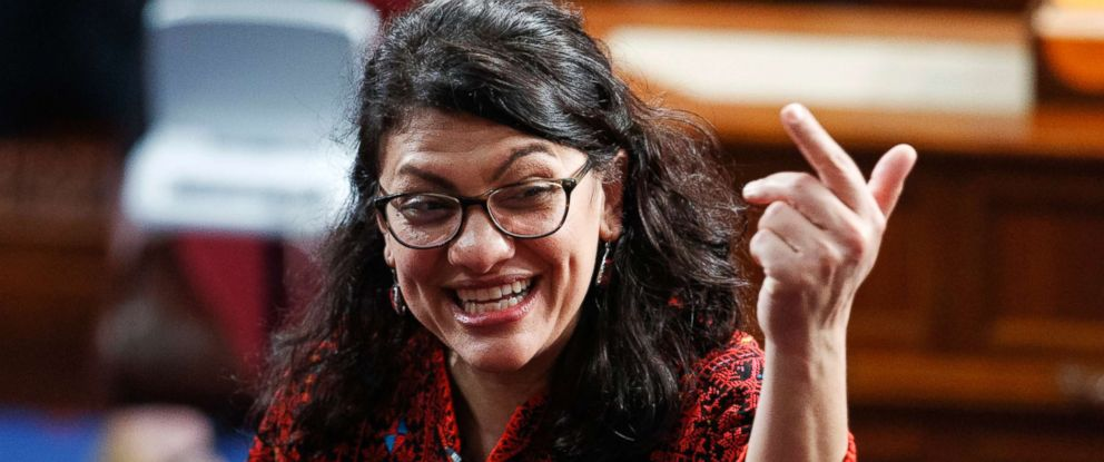 PHOTO: Rashida Tlaib of Michigan, is shown on the house floor before being sworn into the 116th Congress at the U.S. Capitol in Washington, Jan. 3, 2019.
