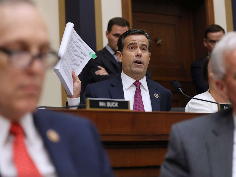 PHOTO: Rep. John Ratcliffe questions former Special Counsel Robert Mueller as he testifies before the House Judiciary Committee about his report on Russian interference in the 2016 presidential election, July 24, 2019, in Washington, D.C.