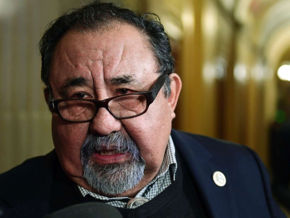PHOTO: Rep. Raul Grijalva speaks with reporters on Capitol Hill in Washington, Jan. 17, 2018.