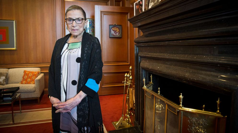 PHOTO: In this July 31, 2014, file photo, Associate Justice Ruth Bader Ginsburg is seen in her chambers in at the Supreme Court in Washington. The Supreme Court says Ginsburg has died of metastatic pancreatic cancer at age 87.