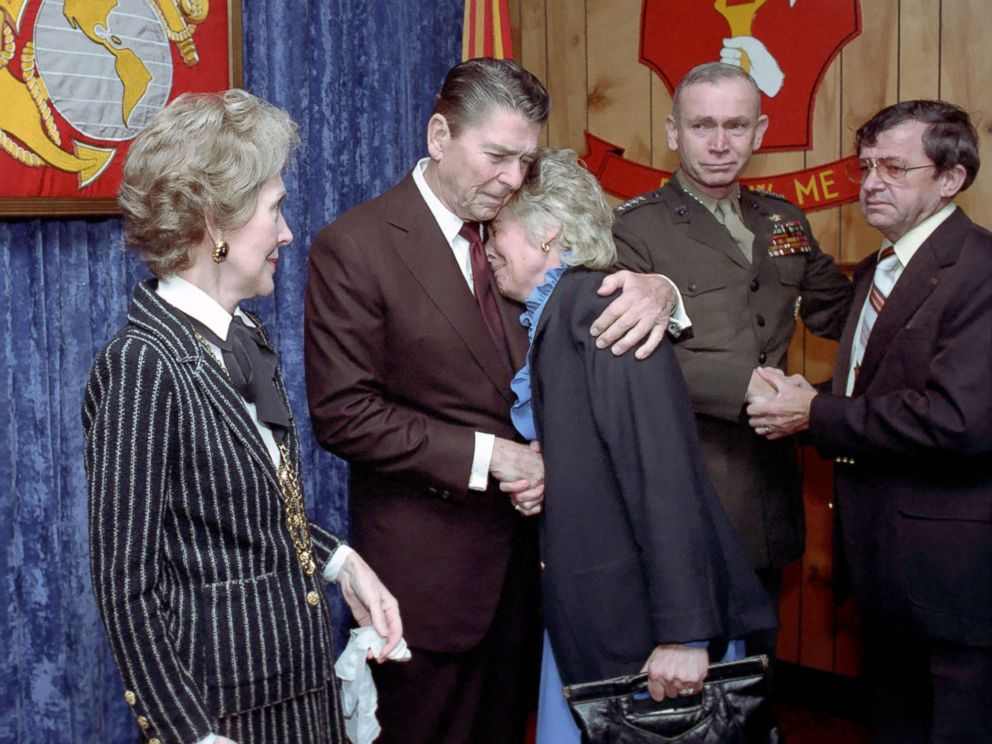 PHOTO: President Reagan consoles a mourner during a memorial service for servicemen killed and wounded in Lebanon and Grenada at the Marine Headquarters Building at Camp Lejeune in North Carolina, Nov. 4, 1983.