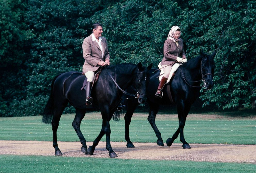 PHOTO: President Ronald Reagan and Queen Elizabeth go horseback riding, June 8, 1982, in London.