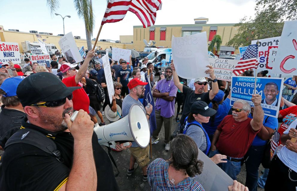 PHOTO: Demonstrators protest outside of the Broward County Supervisor of Elections office, Nov. 10, 2018, in Lauderhill, Fla.