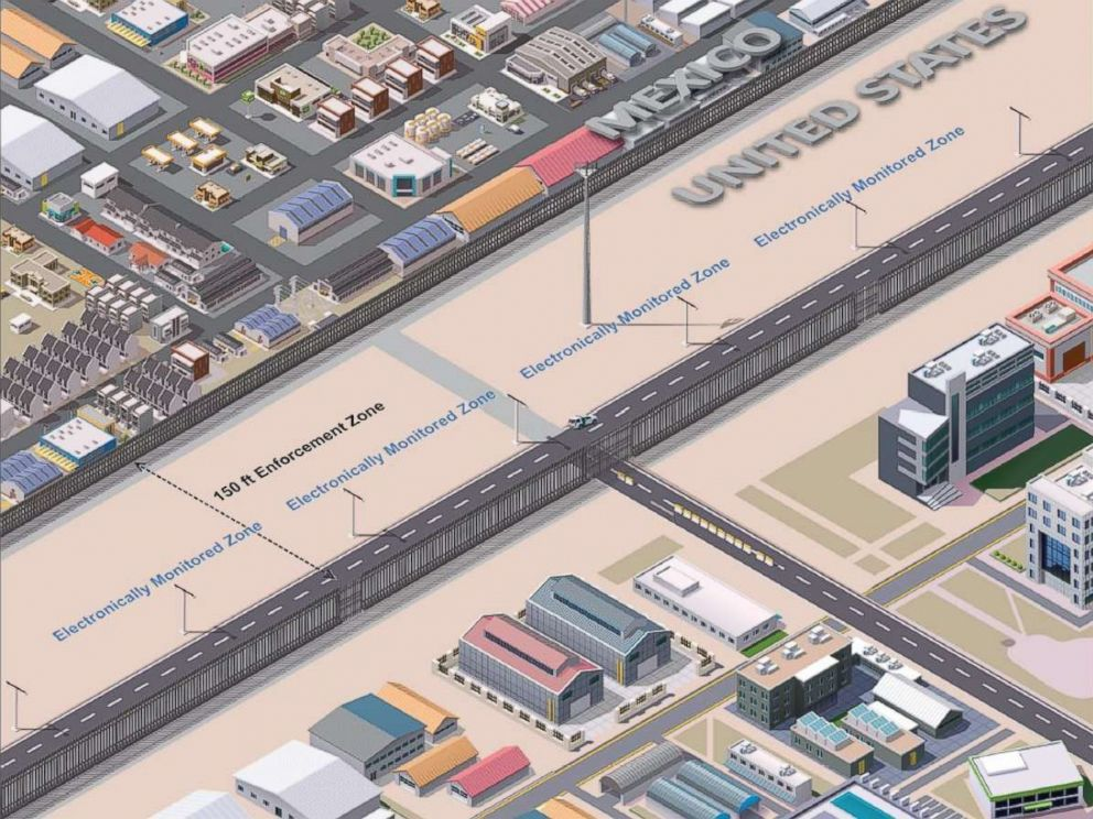 PHOTO: Customs and Border Protection (CBP) rendering of the southern border enforcement zone in an urban environment, Aug. 2017.