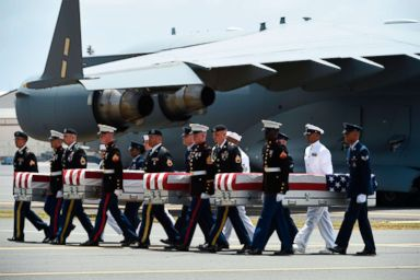 PHOTO: Military pallbearers carry the remains of U.S. service members collected in the Democratic Peoples Republic of Korea during Repatriation ceremony after arriving to Joint Base Pearl Harbor-Hickam, Honolulu, Hawaii, Aug. 1 2018.