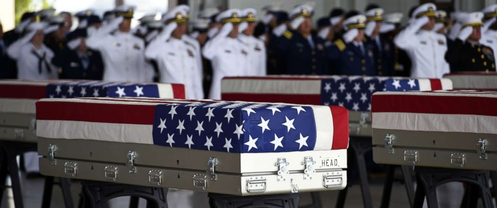 PHOTO: Flag draped transfer cases with the remains of American soldiers repatriated from North Korea are seen during a repatriation ceremony after arriving to Joint Base Pearl Harbor-Hickam, Honolulu, Hawaii, Aug. 1, 2018.