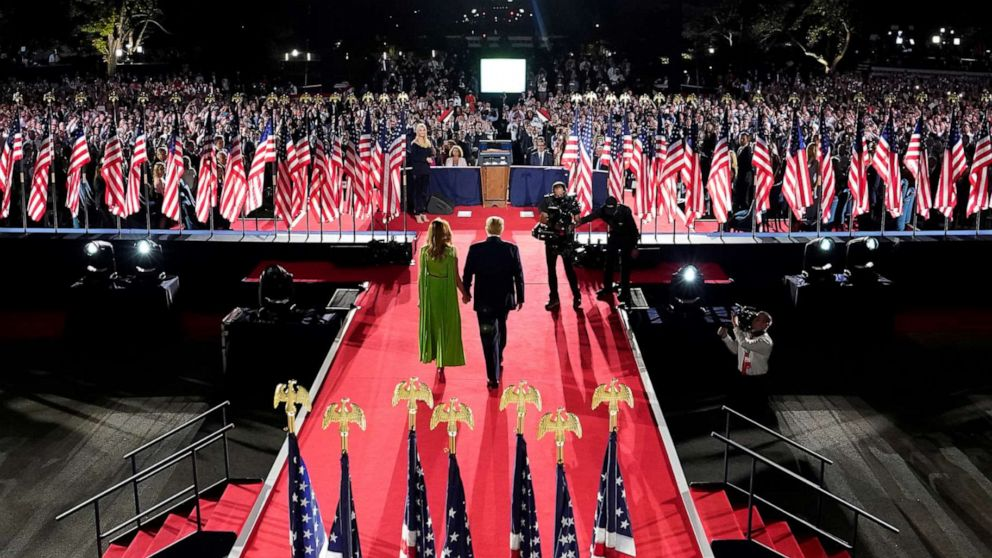 PHOTO: President Trump and first lady Melania Trump arrive for his acceptance speech for the Republican National Convention from the South Lawn of the White House in Washington, Aug. 27, 2020.