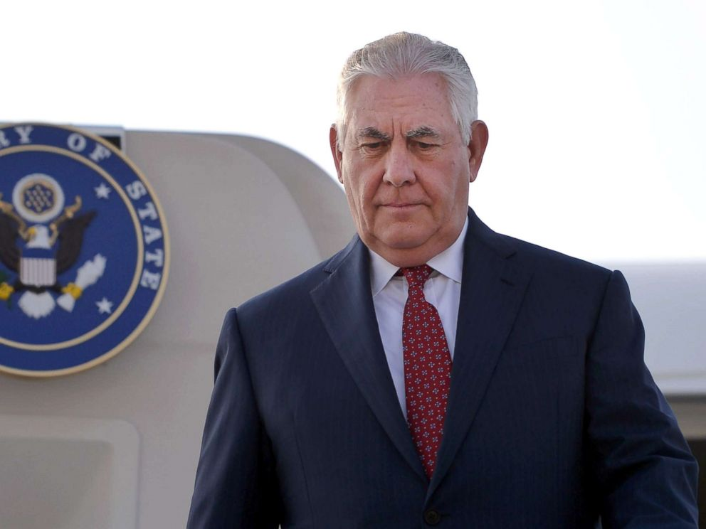 PHOTO: Secretary of State Rex Tillerson comes down from his plane upon his arrival at Pakistans Nur Khan military airbase in Islamabad, Oct. 24, 2017.