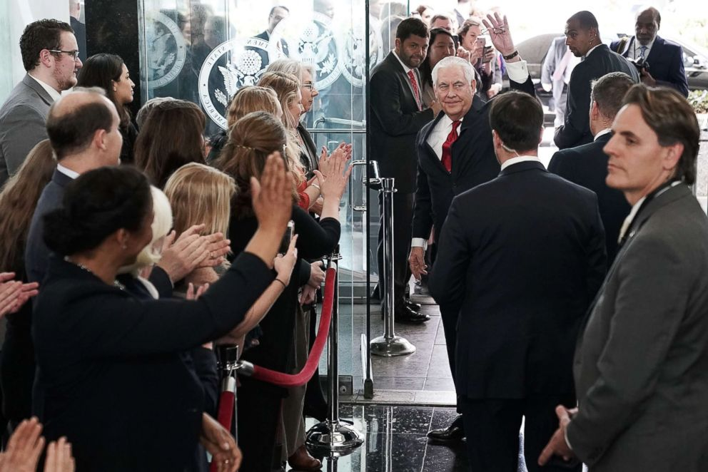 PHOTO: Outgoing U.S. Secretary of State Rex Tillerson waves to State Department employees before his departure on March 22, 2018, at the State Department in Washington, D.C.