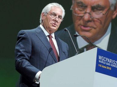 PHOTO: Exxon Mobil Chairman and CEO Rex Tillerson addresses a keynote speech during the World Gas Conference in Paris on June 2, 2015.