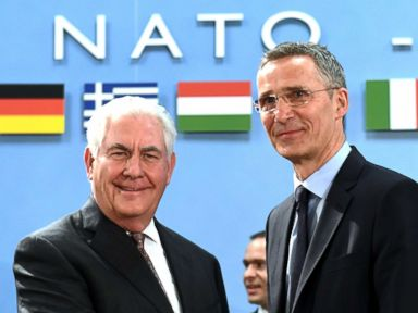 PHOTO: NATO Secretary General Jens Stoltenberg (R) greets U.S. Secretary of State Rex Tillerson upon his arrival for a North Atlantic Council (NAC) meeting at the level of Foreign Ministers, at NATO headquarters in Brussels on March 31, 2017.