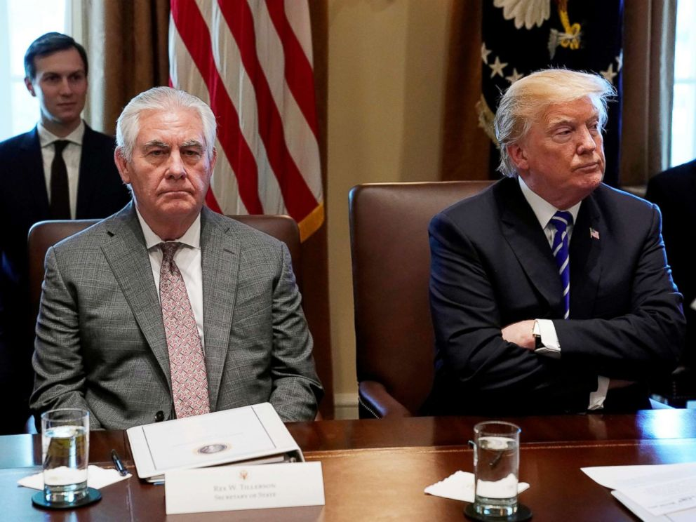 PHOTO: President Donald Trump and Secretary of State Rex Tillerson look up during a Cabinet meeting at the White House, Nov. 20, 2017.