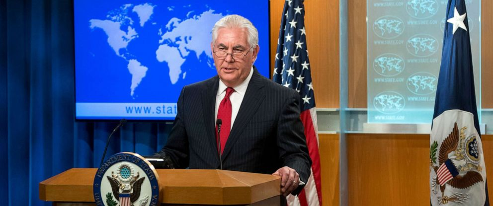 PHOTO: Rex Tillerson, outgoing US Secretary of State makes a statement after his dismissal at the State Department in Washington, D.C. on March 13, 2018.