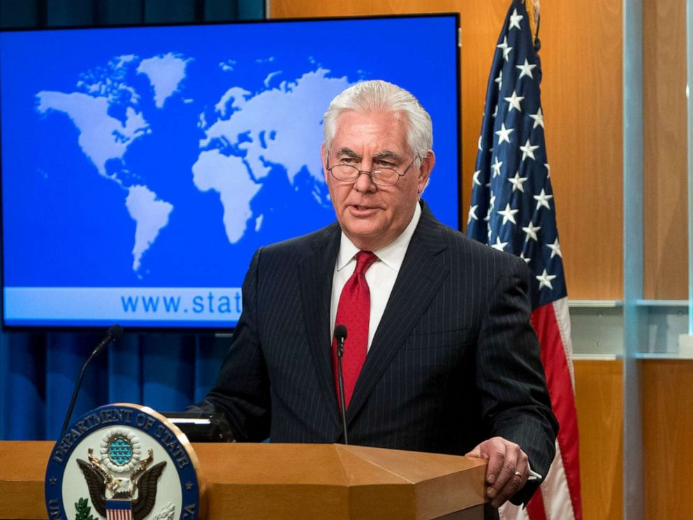 PHOTO: Rex Tillerson, outgoing US Secretary of State makes a statement after his dismissal at the State Department in Washington, DC on March 13, 2018.