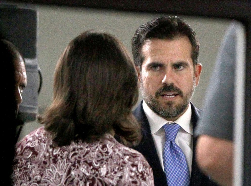 PHOTO: Puerto Rico Gov. Ricardo Rossello meets with mayors from his party inside the Yolanda Guerrero Cultural Center in Guaynabo, Puerto Rico, Sunday, July 21, 2019.
