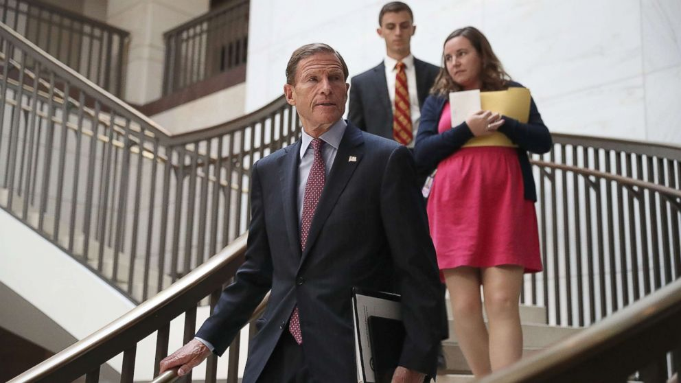 Sen. Richard Blumenthal (D-CT) arrives for an all-senators closed briefing on ISIL in the U.S. Capitol, on July 19, 2017, in Washington.