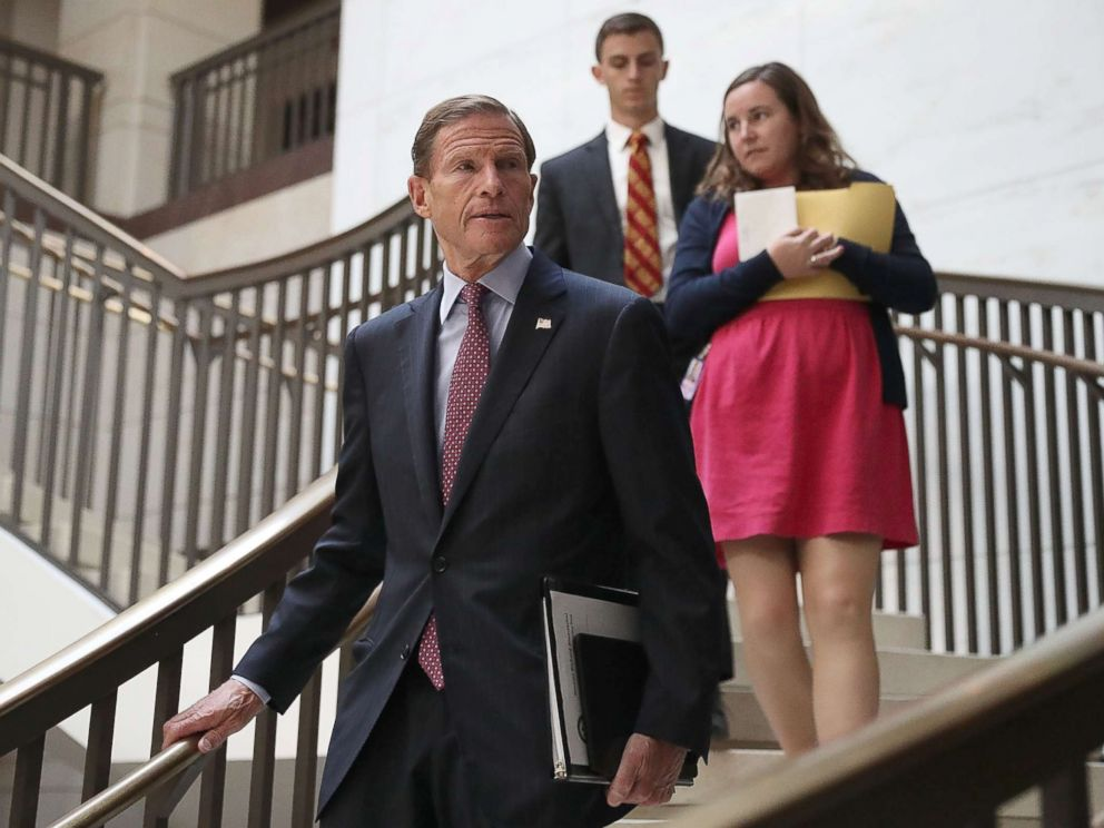 PHOTO: Sen. Richard Blumenthal (D-CT) arrives for an all-senators closed briefing on ISIL in the U.S. Capitol, on July 19, 2017, in Washington.