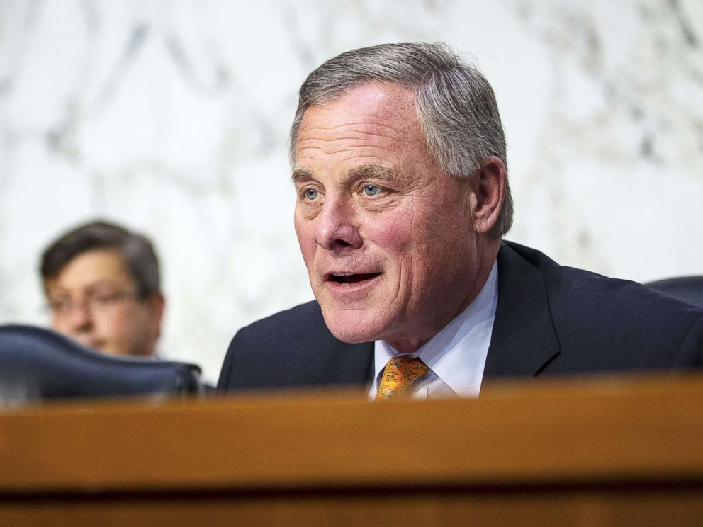 PHOTO: Sen. Richard Burr, chairman of the Senate Intelligence Committee, questions retired Vice Adm. Joseph Maguire during a Senate Intelligence Committee confirmation hearing on Capitol Hill, on July 25, 2018, in Washington, D.C.