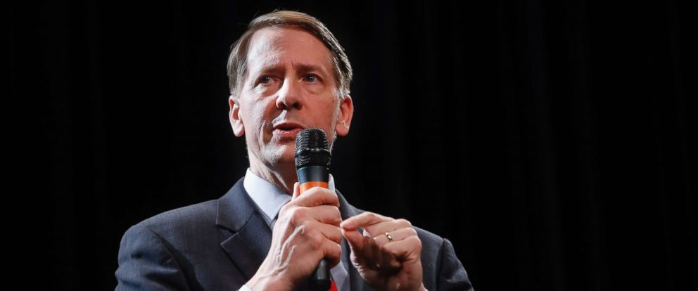 PHOTO: Richard Cordray speaks during the Ohio Democratic Partys fifth debate in the primary race for governor, April 10, 2018.