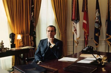PHOTO: President Richard Nixon poses for a photo in the Oval Office of the White House in Washington.