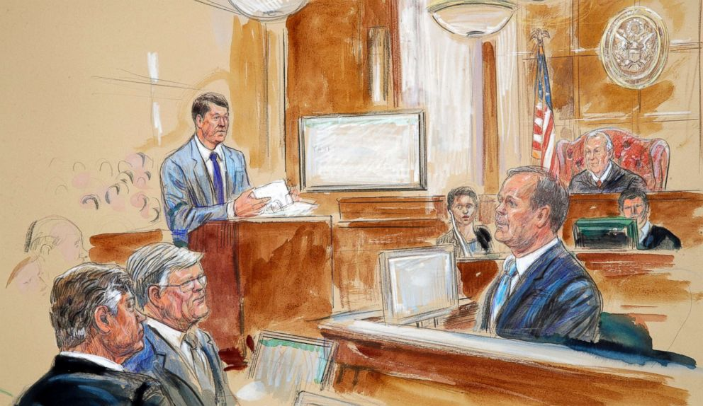 This courtroom sketch depicts Rick Gates, right, testifying during questioning by prosecutor Greg Andres, standing at left, as Manafort's trial continues at federal court in Alexandria, Va., Aug. 7, 2018.