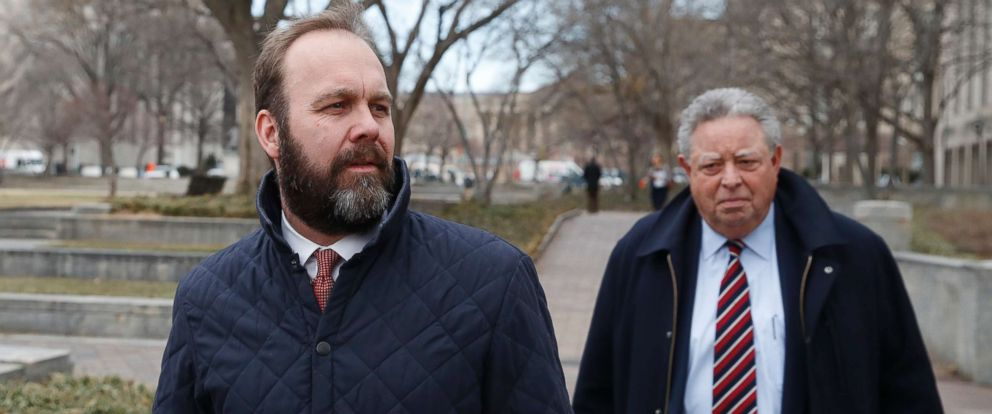 PHOTO: Rick Gates, left, with his lawyer Tom Green, depart Federal District Court, Wednesday, Feb. 14, 2018, in Washington.
