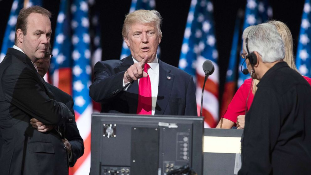 Rick Gates, left, with Donald Trump at the walk through at the Republican National Convention, July 21, 2016, in Cleveland.