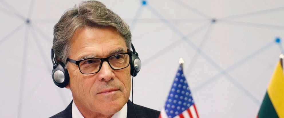 PHOTO: Energy Secretary Rick Perry attends a press conference in Vilnius, Lithuania on Oct. 7, 2019.