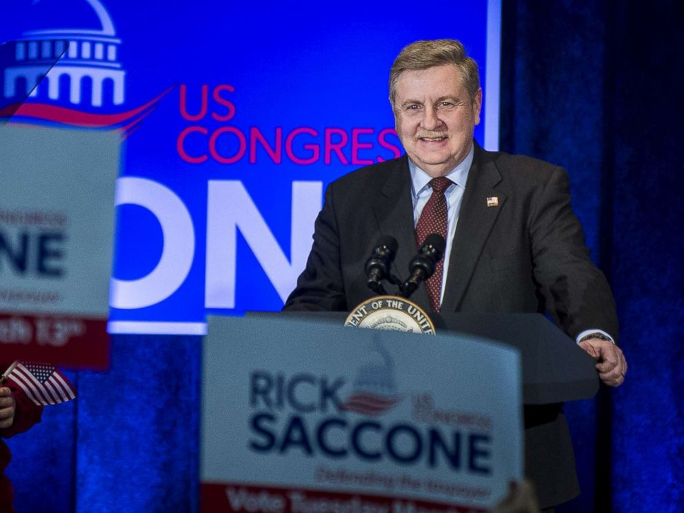PHOTO: Republican Pennsylvania congressional candidate Rick Saccone speaks during a campaign event at the Bethel Park Community Center, Feb. 2, 2018 in Bethel Park, Pa.