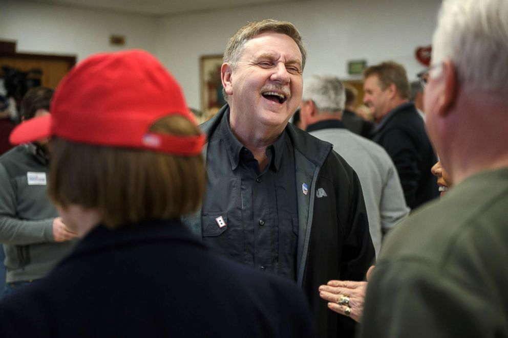PHOTO: Republican congressional candidate Rick Saccone meets with supporters at the VFW Post 4793 while campaigning on March 5, 2018 in Waynesburg, Pa. Saccone is running for the vacated seat of Congressman Tim Murphy against Conor Lamb.