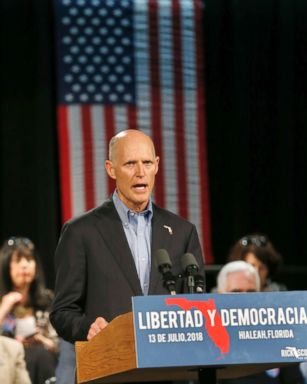 PHOTO: Florida Gov. Rick Scott, speaks to Cuban-American supporters at a campaign stop, July 13, 2018, in Hialeah, Fla.
