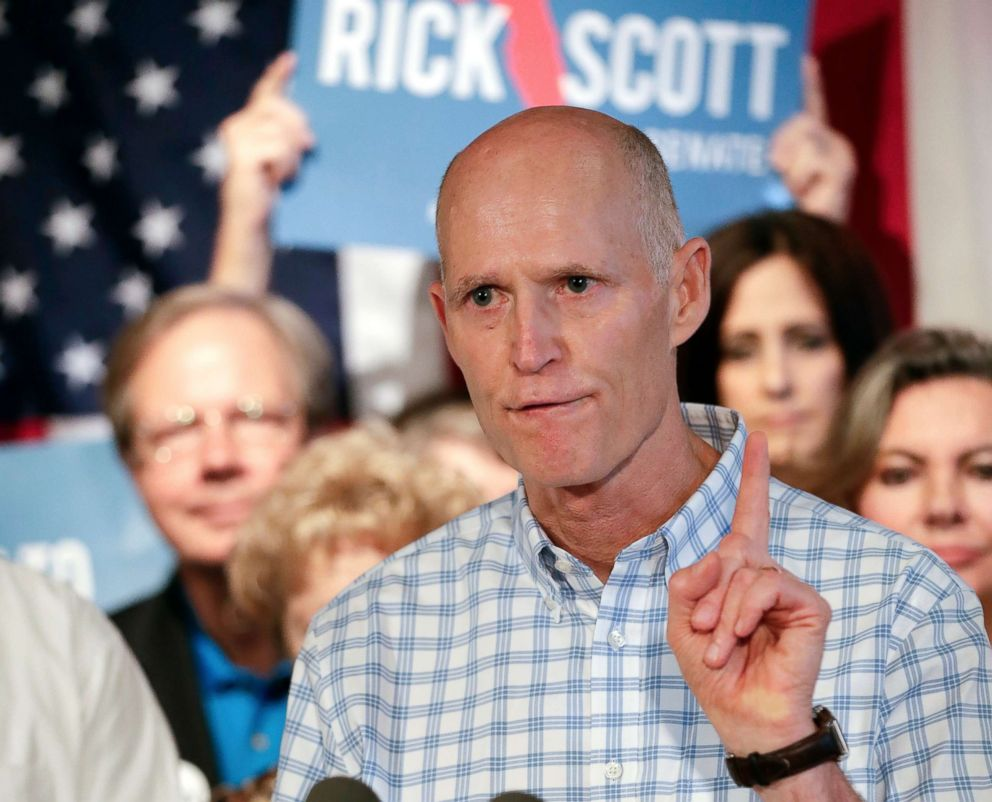PHOTO: Florida Gov. Rick Scott speaks to supporters at Republican rally in Orlando, Fla., Sept. 6, 2018.