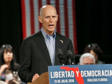 PHOTO: Florida Gov. Rick Scott, speaks to Cuban-American supporters at a campaign stop, in Hialeah, Fla., July 13, 2018.