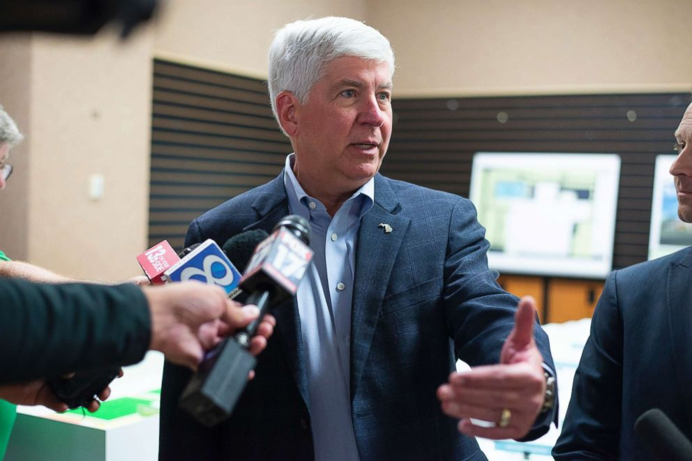 Gov. Rick Snyder answers questions after a press conference to announce the expansion of the Pfizer campus in Portage, Mich., July 24, 2018.