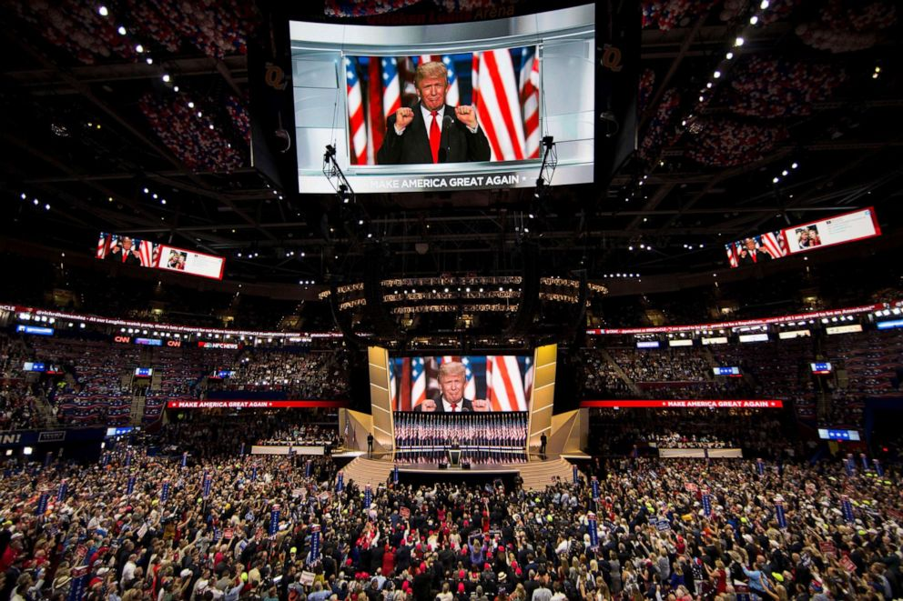 PHOTO: Donald Trump accepts the Republican nomination for President at the 2016 Republican National Convention in Cleveland, Ohio, July 21, 2016.