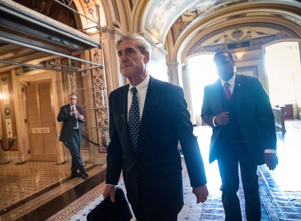 PHOTO: In this June 21, 2017, file photo, Special Counsel Robert Mueller departs after a closed-door meeting with members of the Senate Judiciary Committee about Russian meddling in the election at the Capitol in Washington.