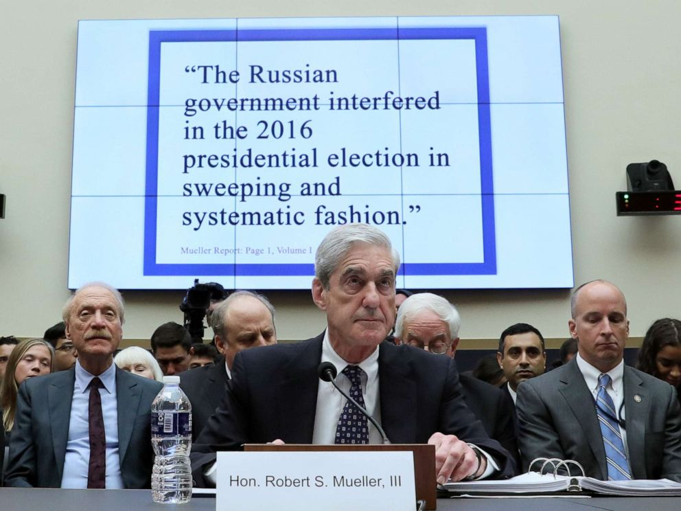 PHOTO: Former Special Counsel Robert Mueller testifies before a House Judiciary Committee hearing on the Office of Special Counsels investigation into Russian Interference in the 2016 Presidential Election on Capitol Hill in Washington, July 24, 2019.