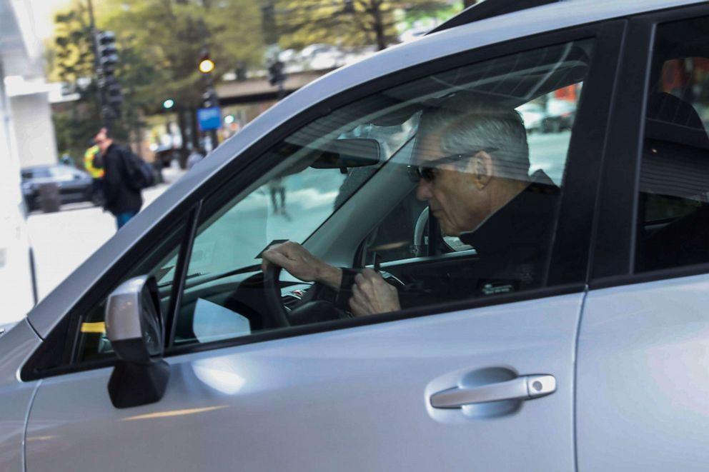 PHOTO: Special Counsel Robert Mueller arrives at his office building in Washington, April 12, 2019.