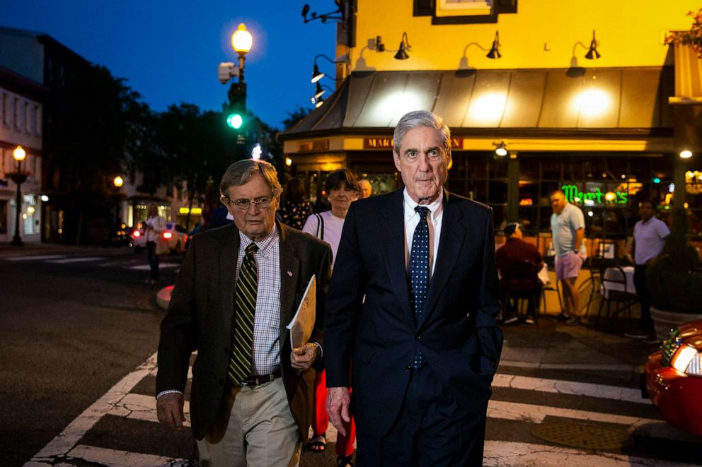 PHOTO: Special counsel Robert Mueller departs after having dinner at Martins Tavern in Georgetown, May 6, 2019, in Washington.
