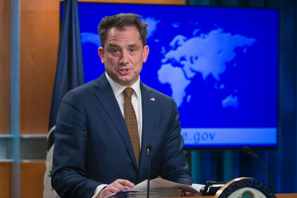 PHOTO: State Department deputy spokesperson Robert Palladino speaks during a media availability at the State Department, Feb. 7, 2019, in Washington.