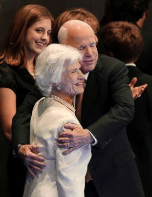 PHOTO: In this Sept. 4, 2008, file photo, Republican presidential nominee John McCain embraces his mother, Roberta, following his acceptance speech at the Republican National Convention in St. Paul, Minn.
