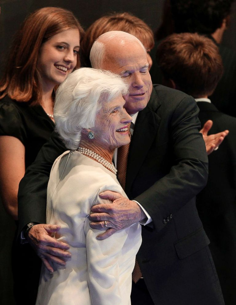 In this Sept. 4, 2008, file photo, Republican presidential nominee John McCain embraces his mother, Roberta, following his acceptance speech at the Republican National Convention in St. Paul, Minn.