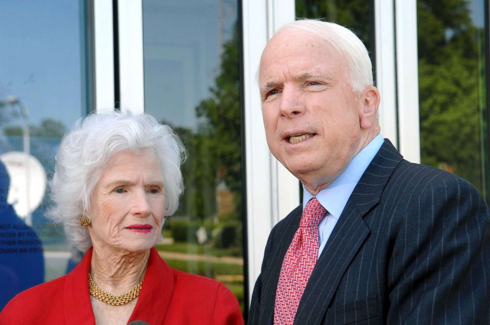 PHOTO: In this May 13, 2007, file photo, then-Republican presidential hopeful Sen. John McCain, talks to reporters with his mother, Roberta McCain, in Washington.