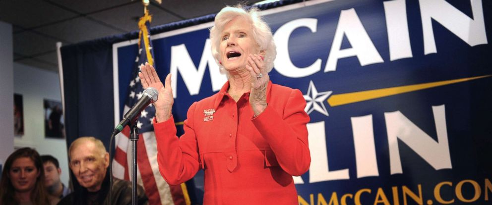 PHOTO: Roberta McCain, mother of Republican presidential candidate Senator John McCain talks to volunteers during a rally at the Crystal City McCain campaign headquarters on Oct. 9, 2008, in Arlington, Va.
