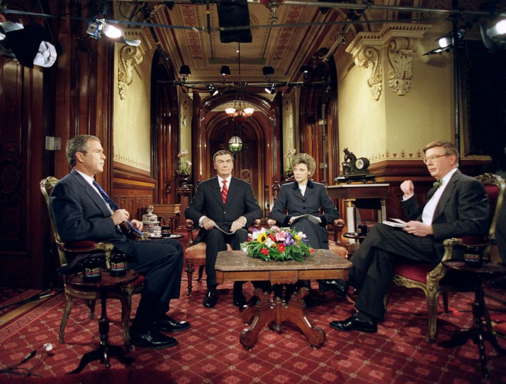 PHOTO: Presidential candidate George W. Bush was interviewed at the Iowa Caucus by Sam Donaldson, Cokie Roberts and George Will on This Week, which aired Jan. 23, 2000, on the ABC Television Network.