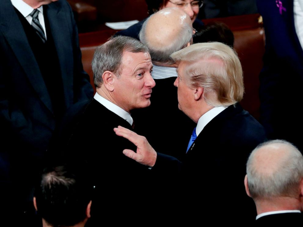 PHOTO: Supreme Court Chief Justice John Roberts talks with President Donald Trump as he departs after delivering his State of the Union address to a joint session of the U.S. Congress on Capitol Hill in Washington, Jan. 30, 2018.